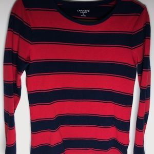Lands end shaped fit striped long sleeve top